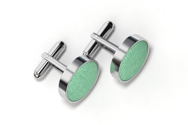 Grüne Manschettenknöpfe aus Stoff mit Silber Fassung