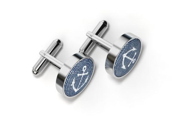 Blaue Manschettenknöpfe mit Anker in Metallfassung Silber