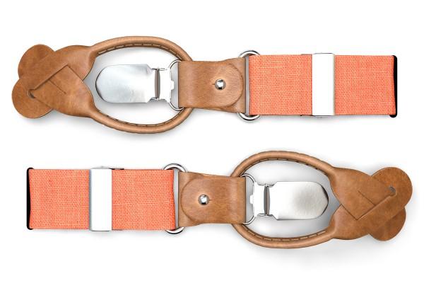 Orange Hosenträger im Vintage Look mit braunem Leder zum Knöpfen
