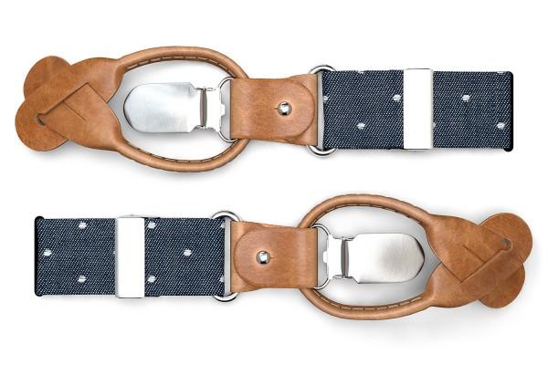 Blaue Hosenträger mit weißen Punkten und braunem Leder
