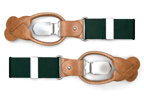 Dunkelgrüne Hosenträger aus Leinen im Vintage Look mit braunem Leder