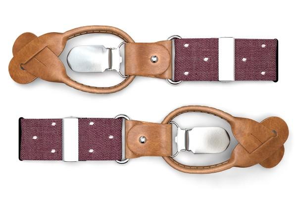 Rot gepunktete Hosenträger mit braunem Leder und Polka Dots