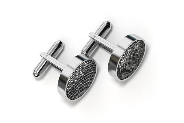 Schwarz glitzernde Manschettenknöpfe aus Stoff mit Fassung in Silber